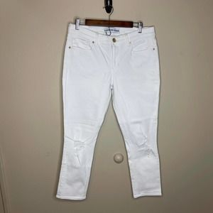 Express women's white denim jeans cropped jeggings